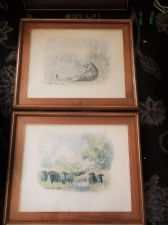 PAIR VINTAGE FRAMED GLAZED WATERCOLOUR PRINTS MICHAEL CROESER BUFFALO & CHEETAH